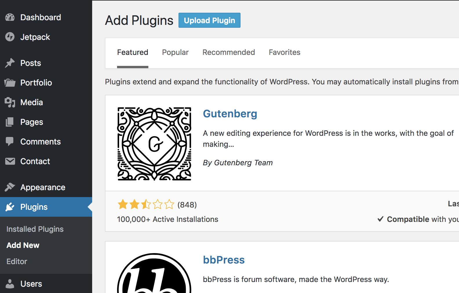 WPB Filterable Portfolio WordPress plugin upload
