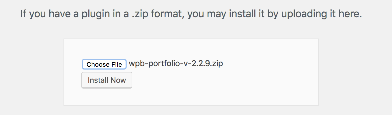 WPB Filterable Portfolio plugin upload